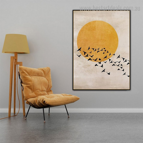 Birds Horde Scandinavian Framed Painting Picture Canvas Print for Room Wall Assortment