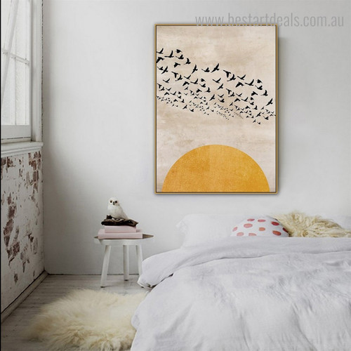Half Daystar Bird Scandinavian Framed Painting Pic Canvas Print for Room Wall Assortment
