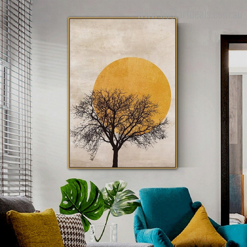 Black Tree Landscape Scandinavian Framed Artwork Pic Canvas Print for Room Wall Adornment
