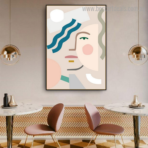 Geometric Face Abstract Contemporary Framed Painting Pic Canvas Print for Room Wall Flourish
