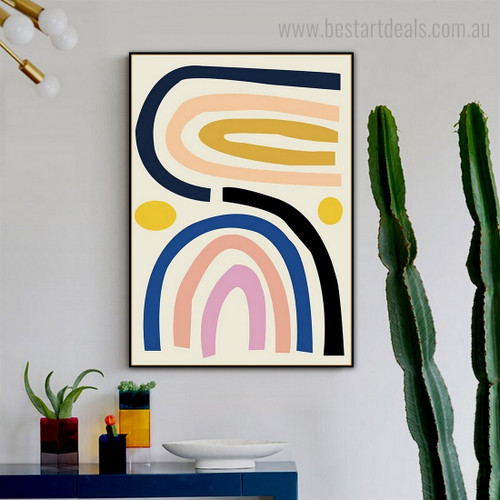 Twisted Rainbow Abstract Contemporary Framed Painting Photo Canvas Print for Room Wall Outfit