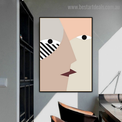Kiss Abstract Contemporary Framed Painting Photo Canvas Print for Room Wall Outfit