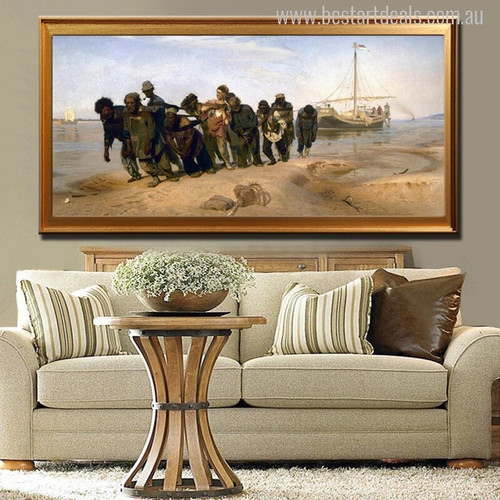 Barge Haulers on the Volga Painting Canvas Print for Living Room Decor