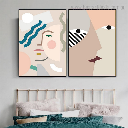 Face Kiss Abstract Minimalist Contemporary Framed Painting Pic Canvas Print for Room Wall Ornament