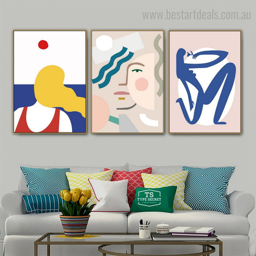 Blue Lady Abstract Minimalist Contemporary Framed Artwork Image Canvas Print for Room Wall Decor