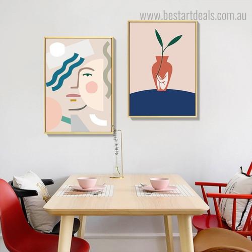 Geometric Visage Abstract Minimalist Contemporary Framed Artwork Image Canvas Print for Room Wall Flourish