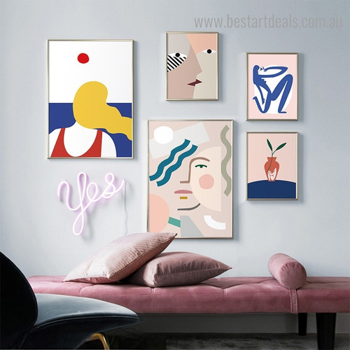 Countenances Abstract Minimalist Contemporary Framed Artwork Pic Canvas Print for Room Wall Decoration