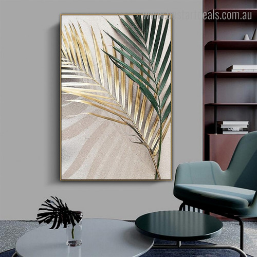 Green Dry Leaves Botanical Contemporary Framed Painting Image Canvas Print for Room Wall Garniture