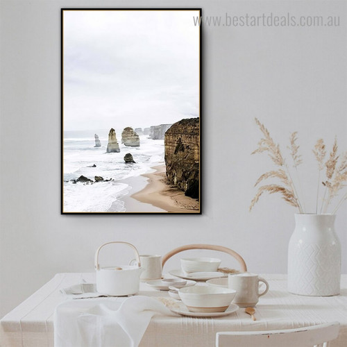 Twelve Apostles Landscape Nature Contemporary Framed Painting Image Canvas Print for Room Wall Finery