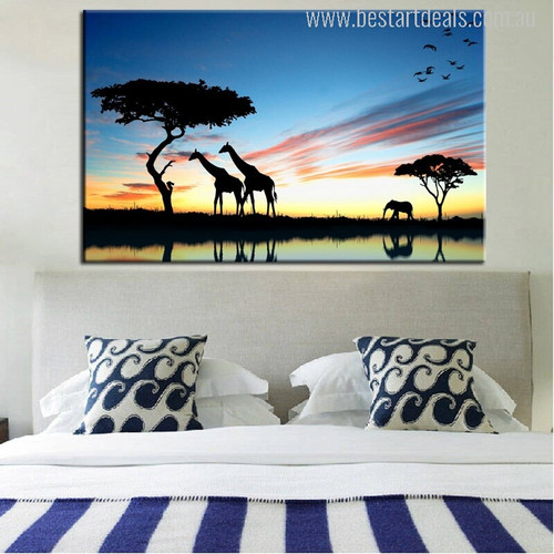 African Savannah Modern Wall Art Print for Bedroom Decoration