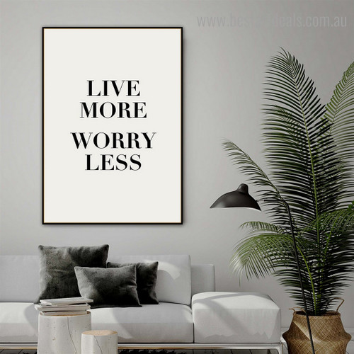 Live More Quote Contemporary Framed Painting Image Canvas Print for Room Wall Decor