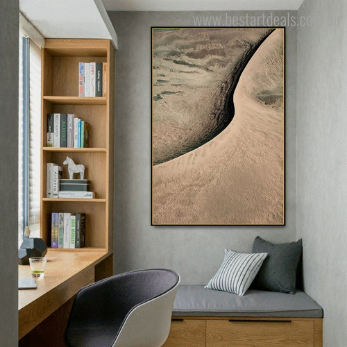 Sand Dune Abstract Contemporary Framed Painting Image Canvas Print for Room Wall Decor