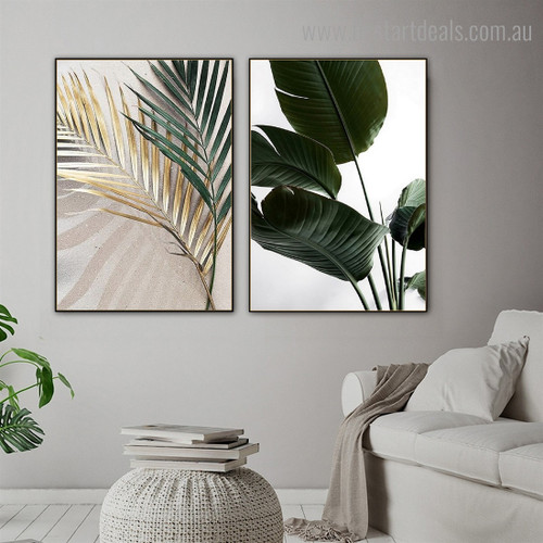 Strelitzia Palm Botanical Contemporary Framed Painting Pic Canvas Print for Room Wall Garniture