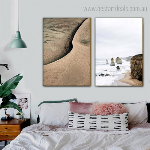 Apostles Sand Dune Nature Contemporary Framed Painting Portrait Canvas Print for Room Wall Adornment