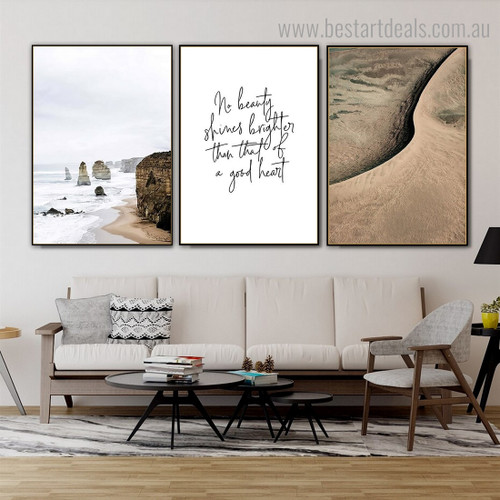 No Beauty Shines Quote Contemporary Framed Artwork Pic Canvas Print for Room Wall Decor
