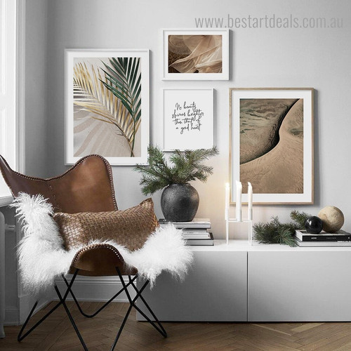 Leafage Sand Botanical Contemporary Framed Artwork Image Canvas Print for Room Wall Adornment