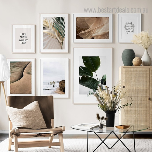Strelitzia Leaves Tulle Botanical Contemporary Framed Artwork Image Canvas Print for Room Wall Adornment