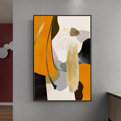 Golden Grey Abstract Contemporary Framed Artwork Image Canvas Print for Room Wall Drape
