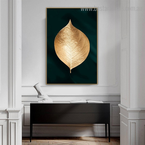 Golden Leaf Abstract Botanical Modern Framed Painting Picture Canvas Print for Room Wall Finery