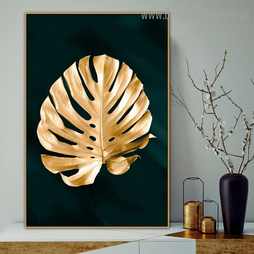 Golden Monstera Abstract Botanical Modern Framed Painting Photo Canvas Print for Room Wall Flourish