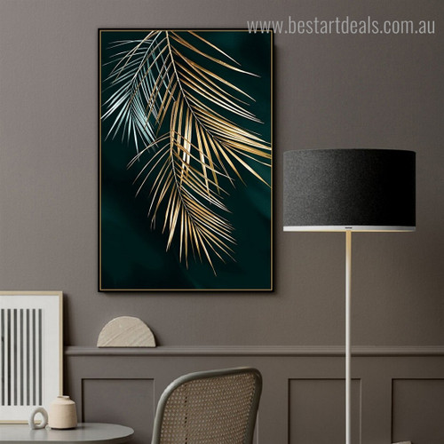 Golden Palm Leaf Abstract Botanical Modern Framed Painting Image Canvas Print for Room Wall Decoration