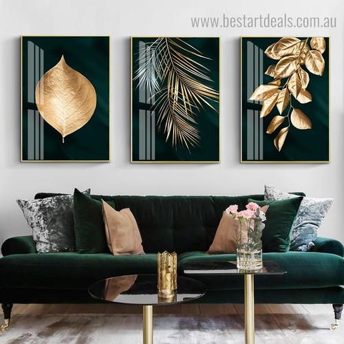 Golden Green Leafage Abstract Botanical Modern Framed Artwork Image Canvas Print for Room Wall Garnish