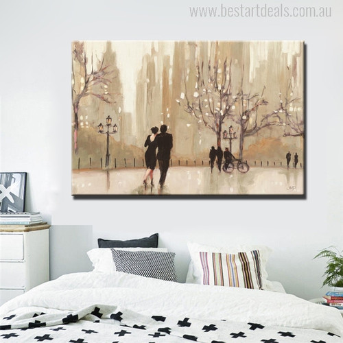 Romantic City Landscape Abstract Painting Print