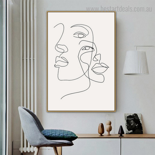 Women Faces Abstract Modern Framed Artwork Pic Canvas Print for Room Wall Assortment