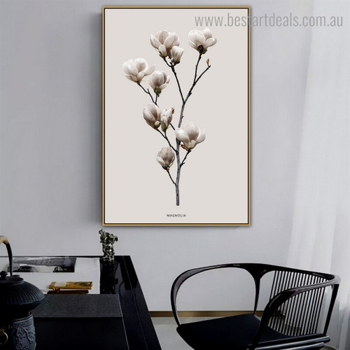 White Magnolia Floral Modern Framed Painting Picture Canvas Print for Room Wall Ornament