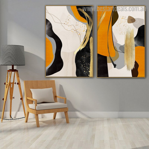 Zigzag Trait Abstract Modern Framed Painting Pic Canvas Print for Room Wall Flourish