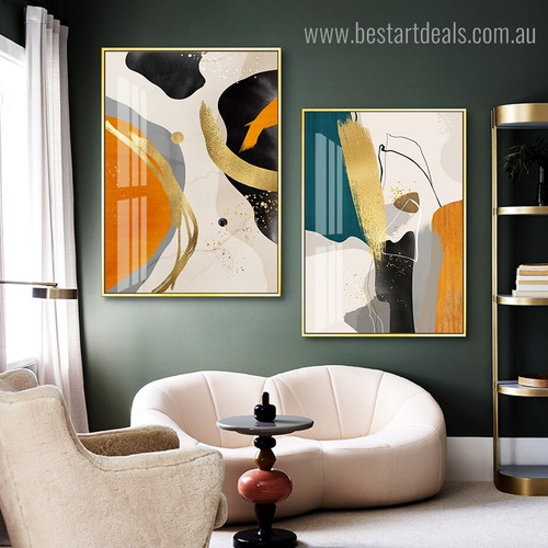 Particoloured Flaws Abstract Modern Framed Painting Picture Canvas Print for Room Wall Garnish