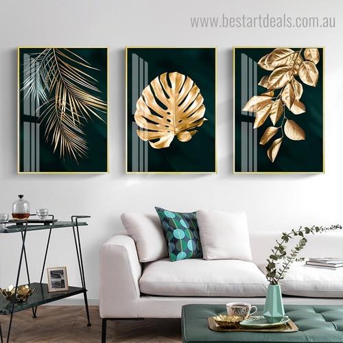 Gilt Leaves Botanical Modern Framed Painting Image Canvas Print for Room Wall Garnish