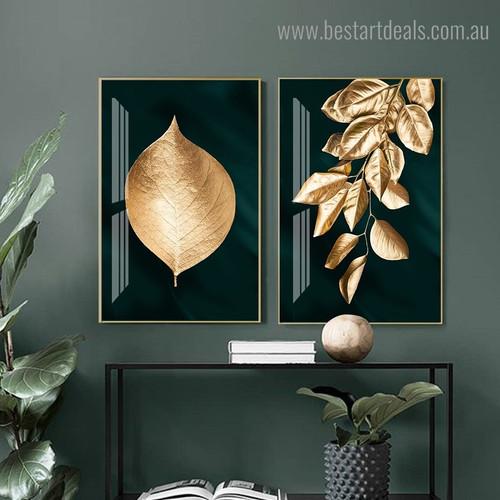 Golden Foliage Botanical Framed Modern Artwork Image Canvas Print for Room Wall Getup