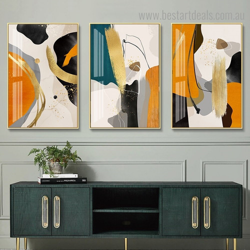 Daubs Abstract Modern Framed Painting Portrait Canvas Print for Room Wall Adornment