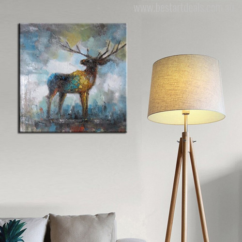 Deer Abstract Modern Painting Print for Living Room Decor