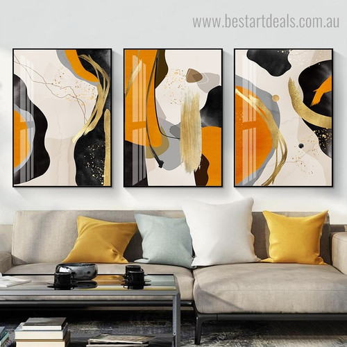 Blobs Abstract Modern Framed Painting Image Canvas Print for Room Wall Onlay