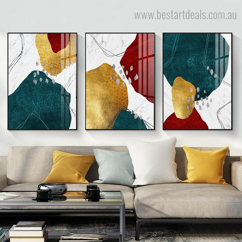 Red Golden Abstract Modern Framed Artwork Image Canvas Print for Room Wall Assortment