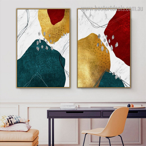 Teal Red Abstract Modern Framed Artwork Picture Canvas Print for Room Wall Ornament