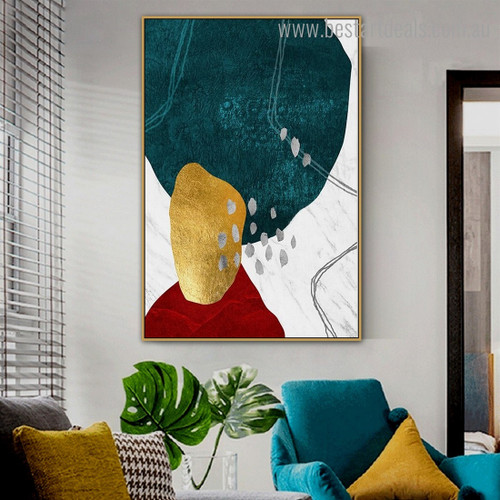Teal Golden Abstract Modern Framed Painting Photo Canvas Print for Room Wall Decoration
