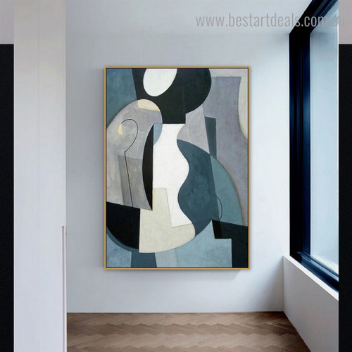 White Blue Abstract Nordic Framed Artwork Image Canvas Print for Room Wall Garniture