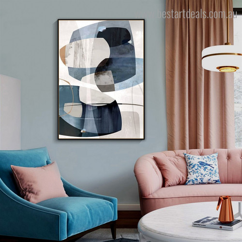 Blue Rocks Abstract Nordic Framed Painting Pic Canvas Print for Room Wall Finery
