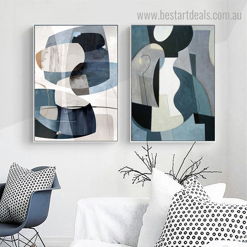 Zigzag Shapes Abstract Nordic Framed Painting Photo Canvas Print for Room Wall Flourish