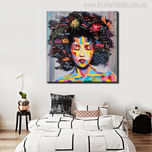 Girl Face Watercolor Modern Painting Print for Bedroom Wall Decor