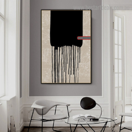 Black Paint Drops Abstract Modern Framed Artwork Pic Canvas Print for Room Wall Adornment