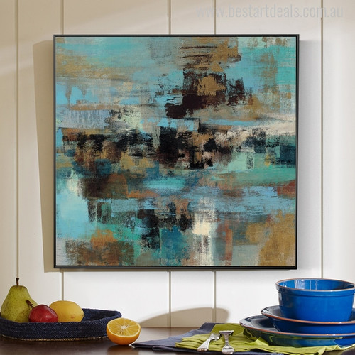 Blue Abstract Modern Painting Canvas Print for Home Decor
