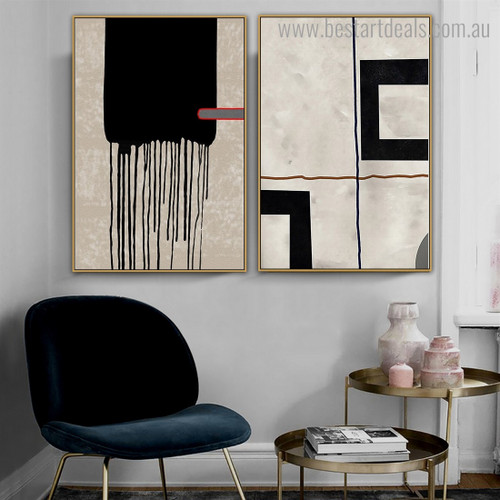 Lineaments Abstract Contemporary Framed Painting Image Canvas Print for Room Wall Decor