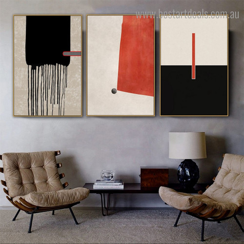 Thick Stroke Abstract Contemporary Framed Artwork Pic Canvas Print for Room Wall Flourish