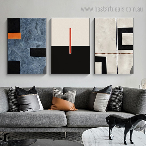 Traits Abstract Contemporary Framed Artwork Picture Canvas Print for Room Wall Garniture