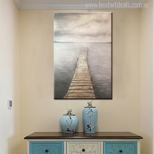 Wooden Bridge Seascape Painting Canvas Print