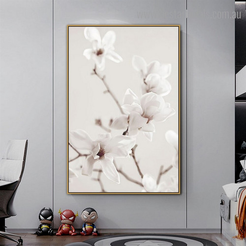 Magnolia Branches Floral Vintage Framed Painting Image Canvas Print for Room Wall Decoration